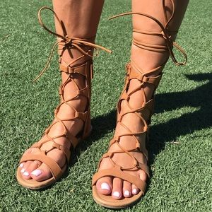 tan gladiator style sandals